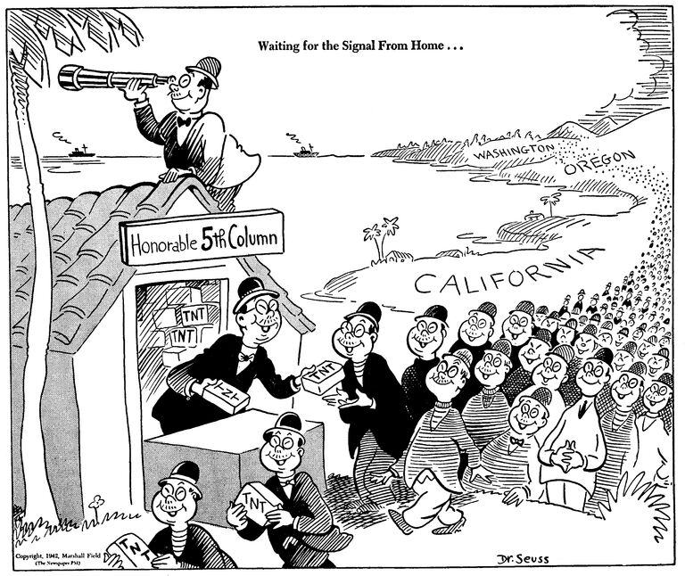 Dr. Seuss, Waiting for the signal from home..., February 13, 1942, Dr. Seuss Political Cartoons. Special Collection & Archives, UC San Diego Library