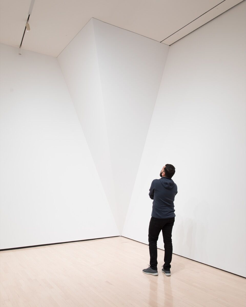 """Installation view of David Lamelas, Corner Piece, 1965/2005, for """"David Lamelas: Fiction of a Production"""" at the MSU Broad, 2018. Photo by Eat Pomegranate Photography. Courtesy of MSU Broad."""
