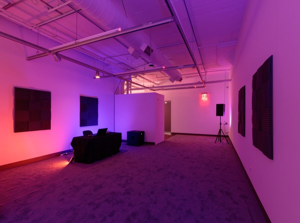Installation view of work by Kevin Beasley. Photo by Stan Narten.