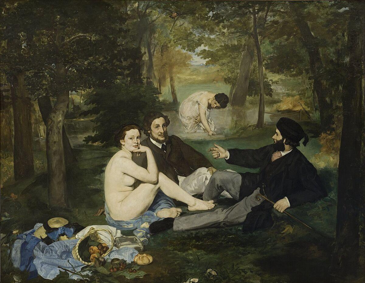 "Edouard Manet, Luncheon on the Grass (""Le Déjeuner sur l'herbe""), 1863. Image via Wikimedia Commons."