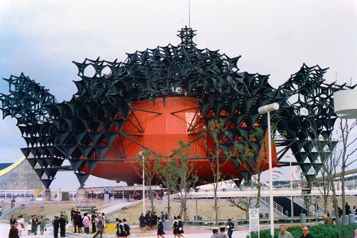 Photograph of the Toshiba-IHI Pavilion, designed by Kisho Kurokawa, in the Osaka Expo, 1970. Image via Wikimedia Commons.