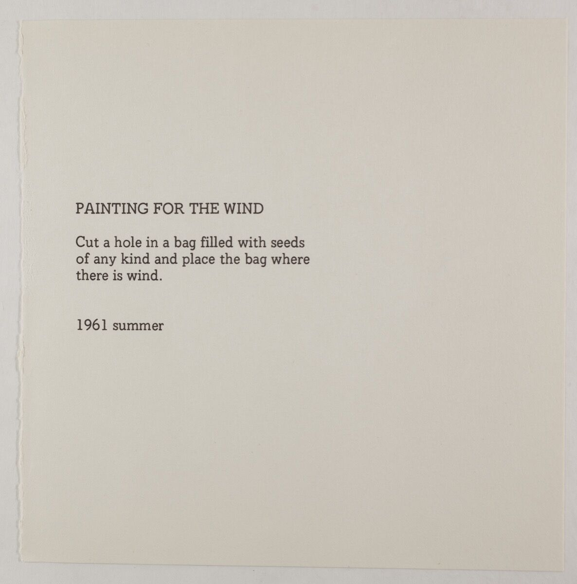 "Yoko Ono, ""Painting For The Wind,"" 1961, from Grapefruit, published 1964 . © Yoko Ono. Courtesy of the artist and Galerie Lelong."