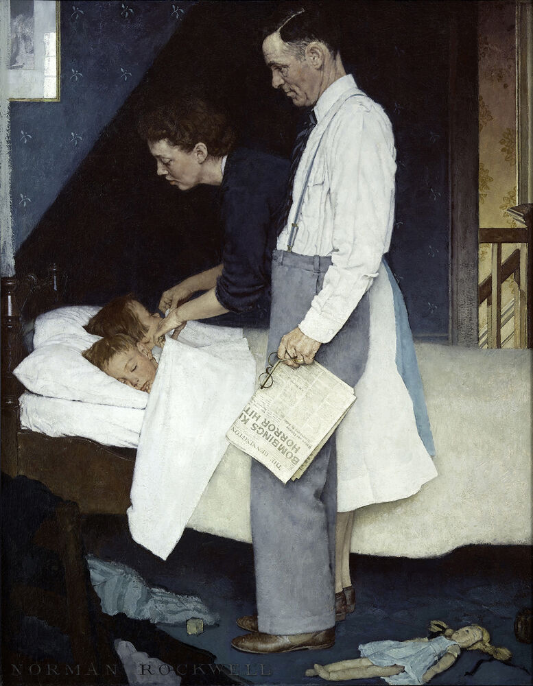 """Norman Rockwell, Freedom from Fear, from the """"Four Freedoms"""" series, 1943. Story illustration for The Saturday Evening Post, March 13, 1943. © SEPS: Curtis Licensing, Indianapolis, IN. Courtesy of the Norman Rockwell Museum and the New York Historical Society Museum & Library."""