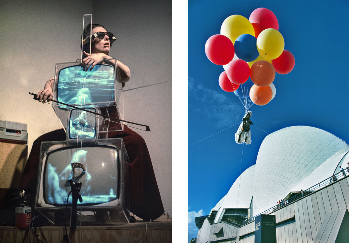Left: Charlotte Moorman performing on Nam June Paik's TV Cello wearing TV Glasses, Bonino GAllery, New York City, 1971. Photo: Takahiko Iimura. © Takahiko Iimura. Courtesy of Grey Art Gallery, New York University; Right: Charlotte Moorman performing Jim McWilliams's Sky Kiss, Sydney Opera House, Sydney, Australia, April 11, 1976. Unidentified photographer, reproduced courtesy of Kaldor Public Art Projects. Courtesy of Grey Art Gallery, New York University.