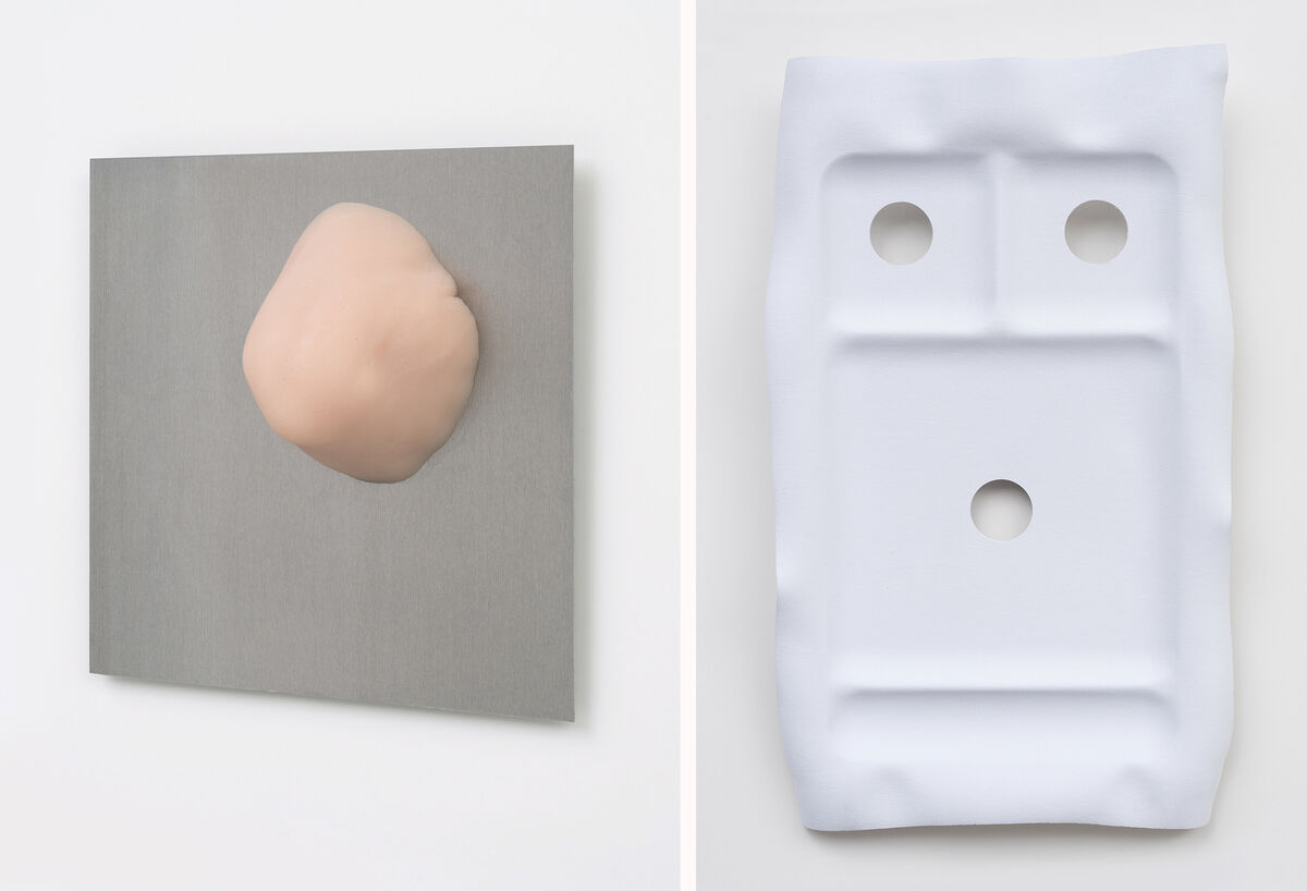 Sterling Lawrence, Casting Elbows, 2015; Sterling Lawrence, fACED lunch tray version 1, 2015. Courtesy DOCUMENT.