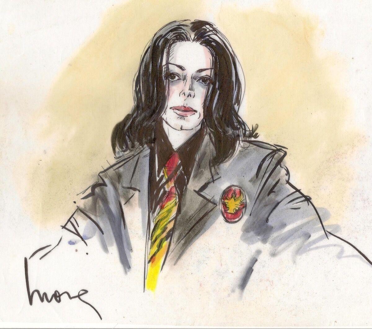Illustration of Michael Jackson by Mona Shafer Edwards.