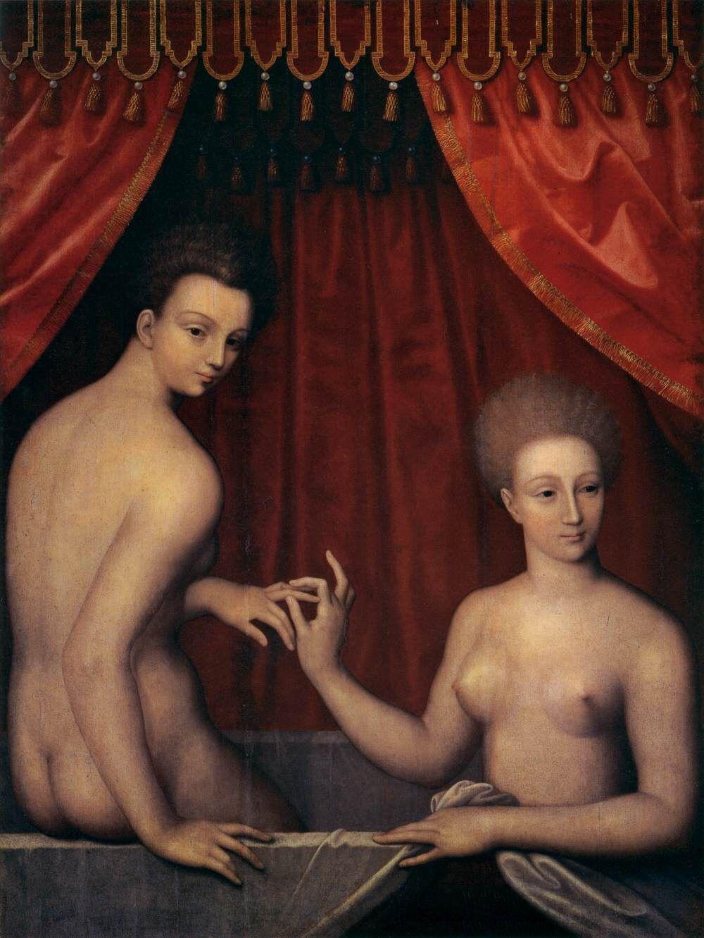 Unknown, Portrait of Gabrielle d'Estrées with Her Sister, c. 1590. Image via Wikimedia Commons.