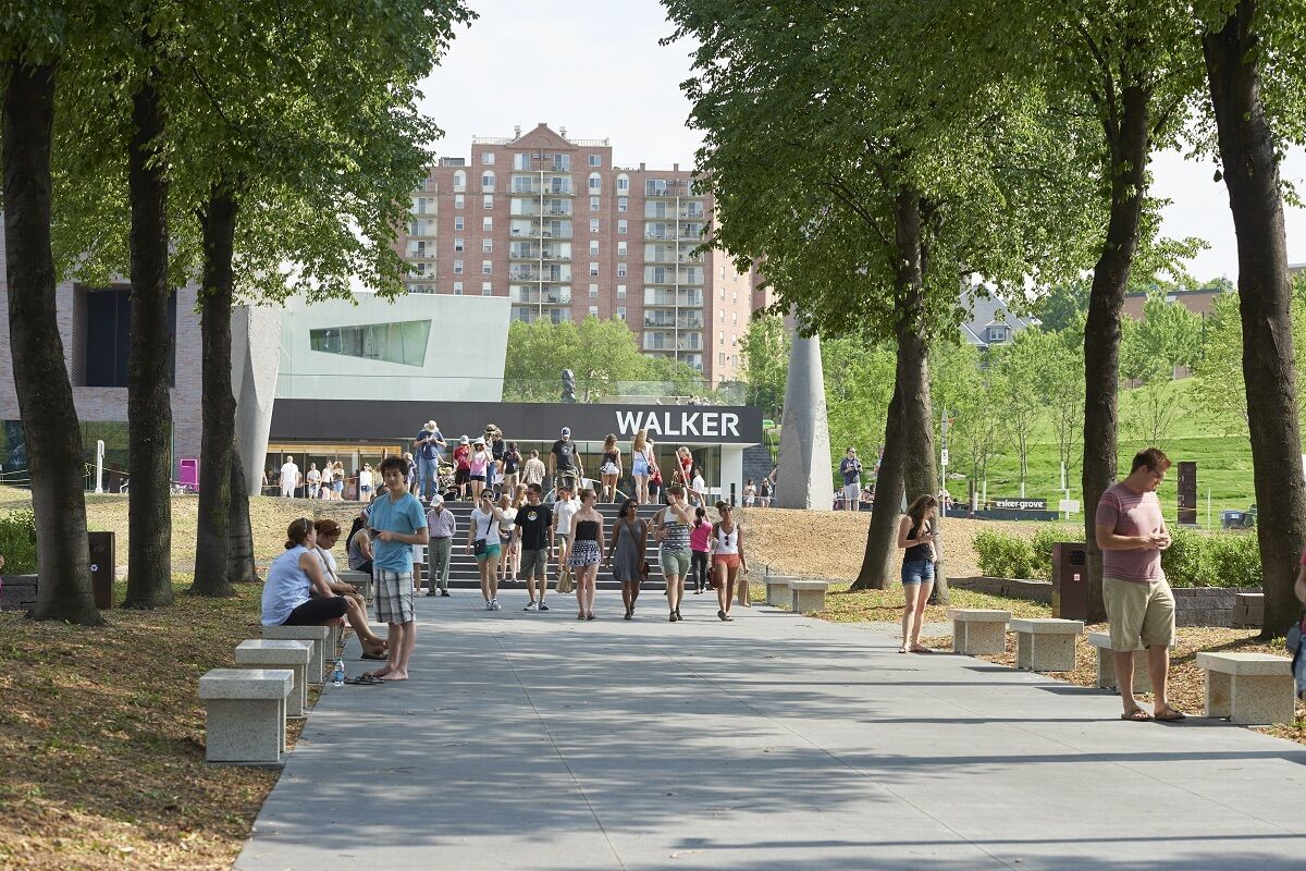 The Walker Art Center and Minneapolis Sculpture Garden. Photo by Alice Gebura, courtesy the Walker Art Center.