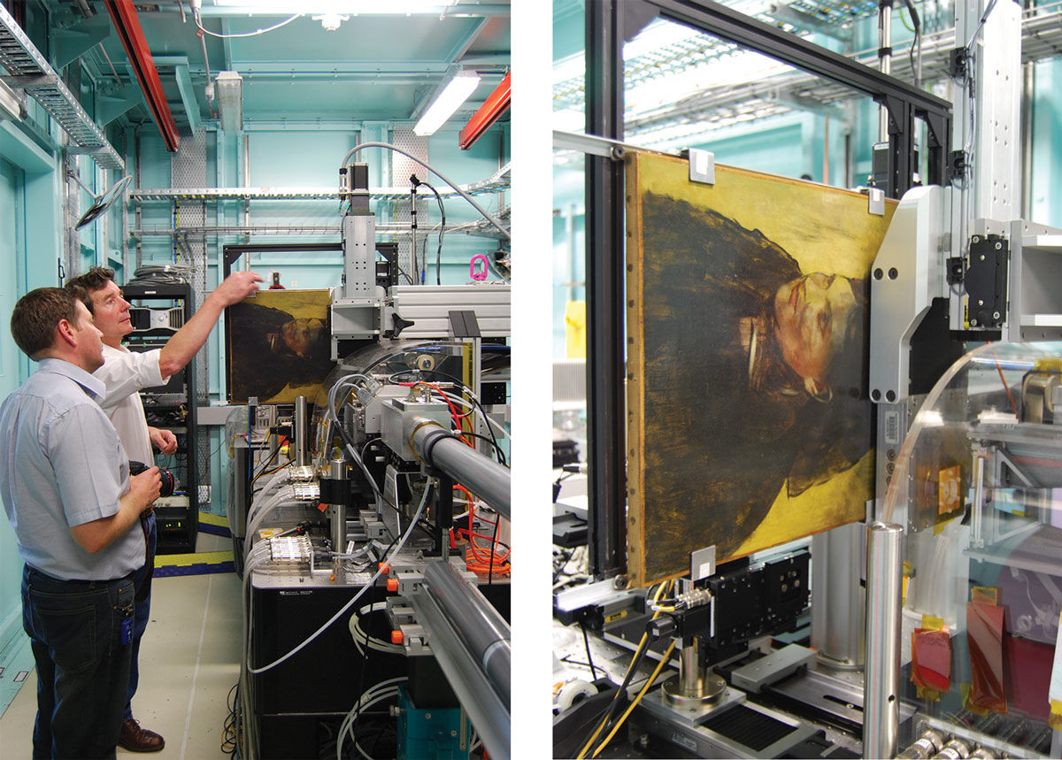 Left: Dr. Daryl Howard and Dr. David Paterson examine Degas's Portrait of a Woman,c. 1876–80. Right: Australian Synchroton of Portrait of a Woman. Images courtesy ofNational Gallery of Victoria, Melbourne.