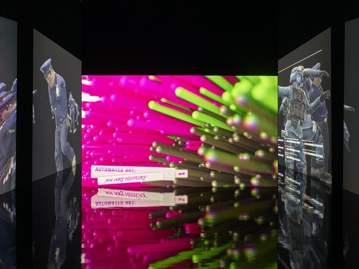 """Hito Steyerl, installation view of This is the Future / Power Plants, 2019, in """"I Will Survive"""" at Kunstsammlung Nordrhein-Westfalen, 2020. © VG Bild-Kunst, Bonn, 2020. Photo by Achim Kukulies. Courtesy of Kunstsammlung Nordrhein-Westfalen."""