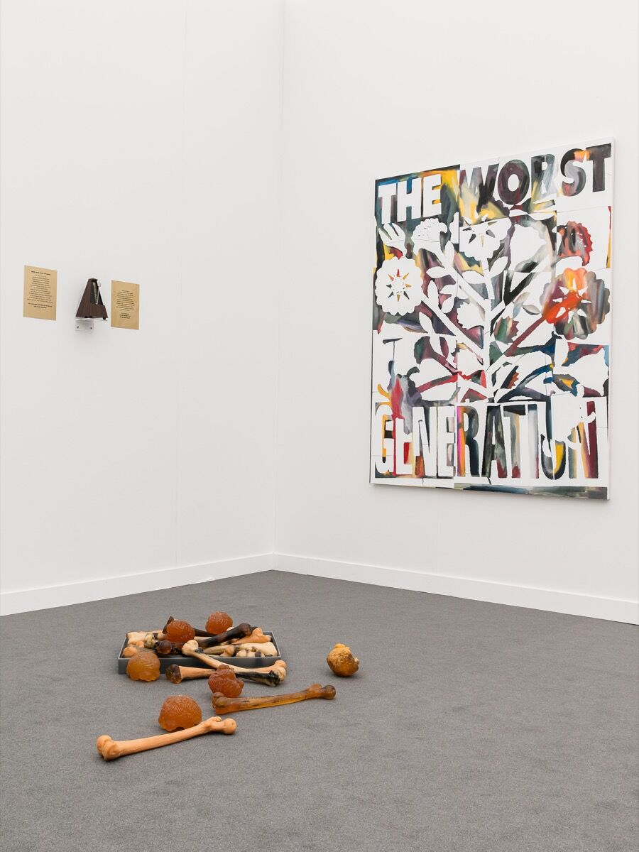 Installation view of The Harrisons' work at various small fire's booth at Frieze New York, 2017. Photo by Mark Blower, courtesy of Frieze.