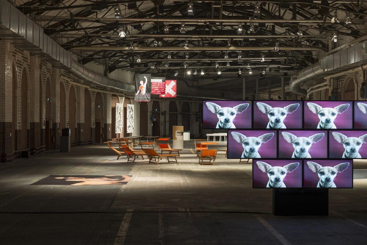 Installation viewof Sturtevant's work at Art Berlin Contemporary, 2015. Courtesy Julia Stoschek Foundation e.V. Photo by StefanKorte.