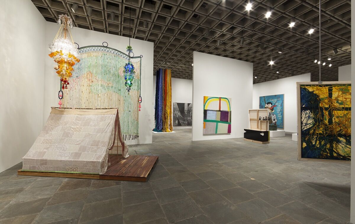 Installation view of Michelle Grabner's floor at the Whitney Biennial 2014. Courtesy of the Whitney Museum of American Art.