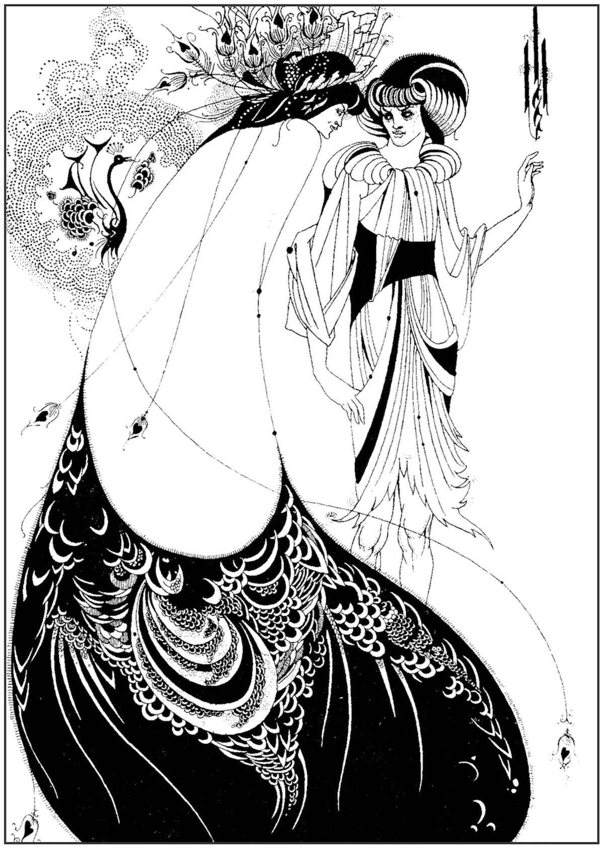 A coloring book page based on one of Aubrey Beardsley's drawings illustrating Salomé by Oscar Wilde. Courtesy the British Library.