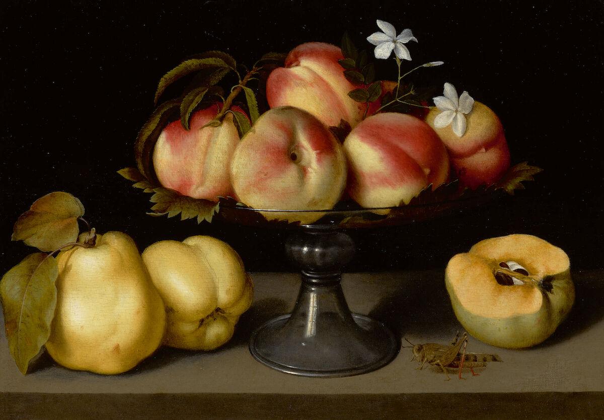 Fede Galizia, A Glass Compote with Peaches, Jasmine Flowers, Quinces, and a Grasshopper. Est. $2 million–3 million. Courtesy Sotheby's.