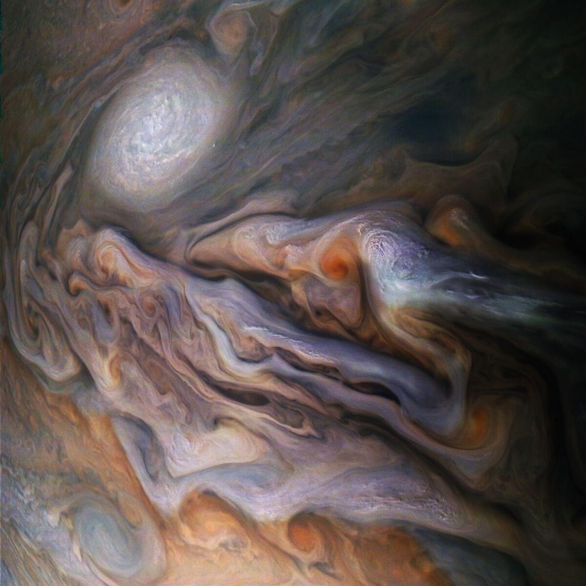 A multitude of swirling clouds in Jupiter's dynamic North North Temperate Belt is captured from NASA's Juno spacecraft. © NASA/JPL-Caltech/SwRI/MSSS/Gerald Eichstädt/Seán Doran.