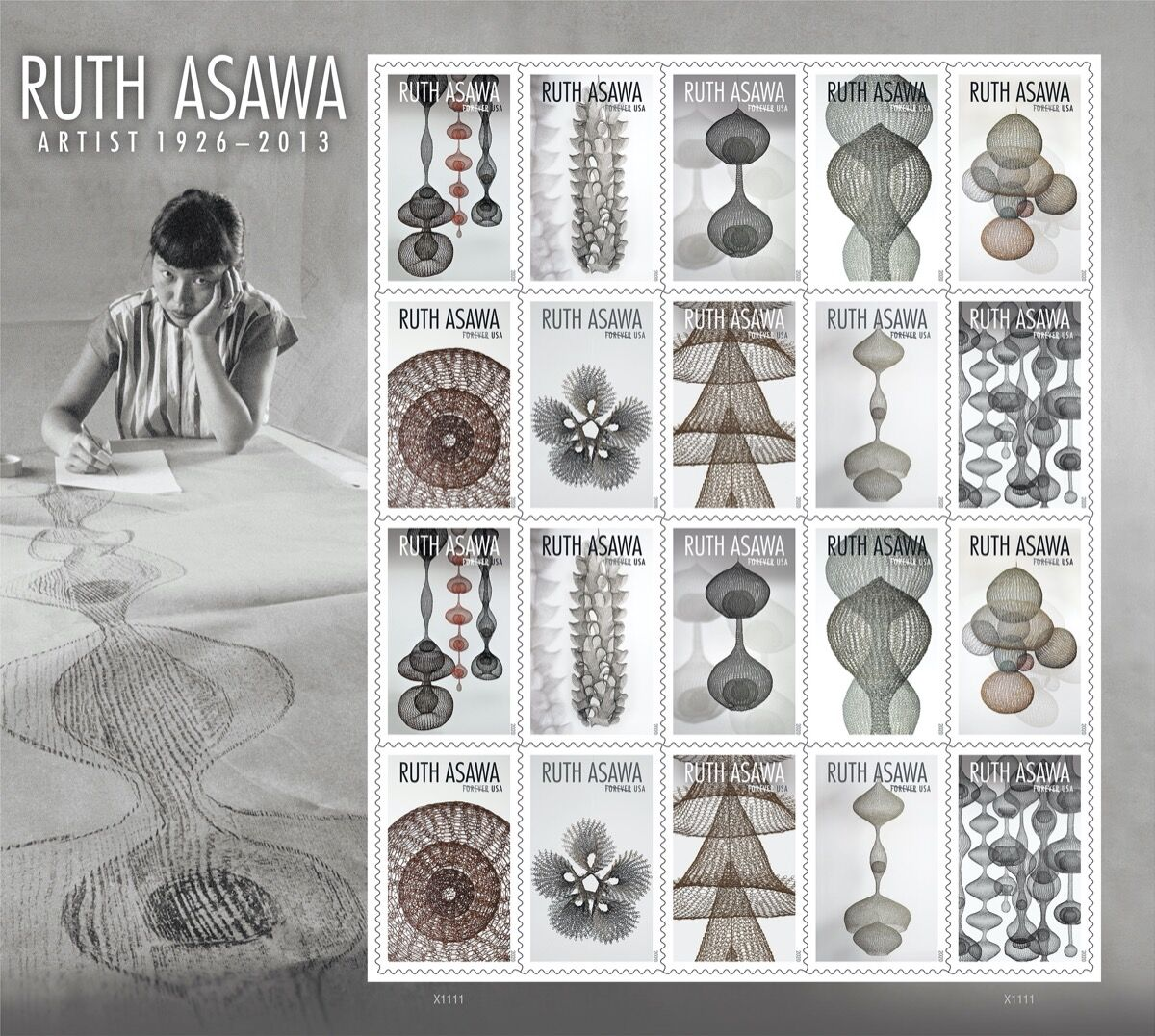 Ruth Asawa's USPS stamp series. Courtesy of United States Postal Service.