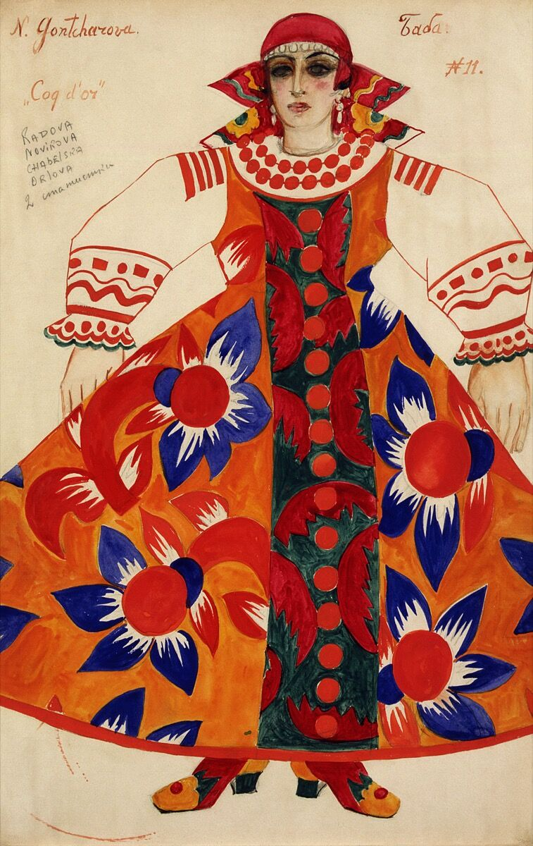 Natalia Goncharova, Peasant woman. Costume design for Le Coq d'Or, 1937. © ADAGP, Paris and DACS, London 2019. State Tretyakov Gallery, Moscow. Courtesy of the Tate.