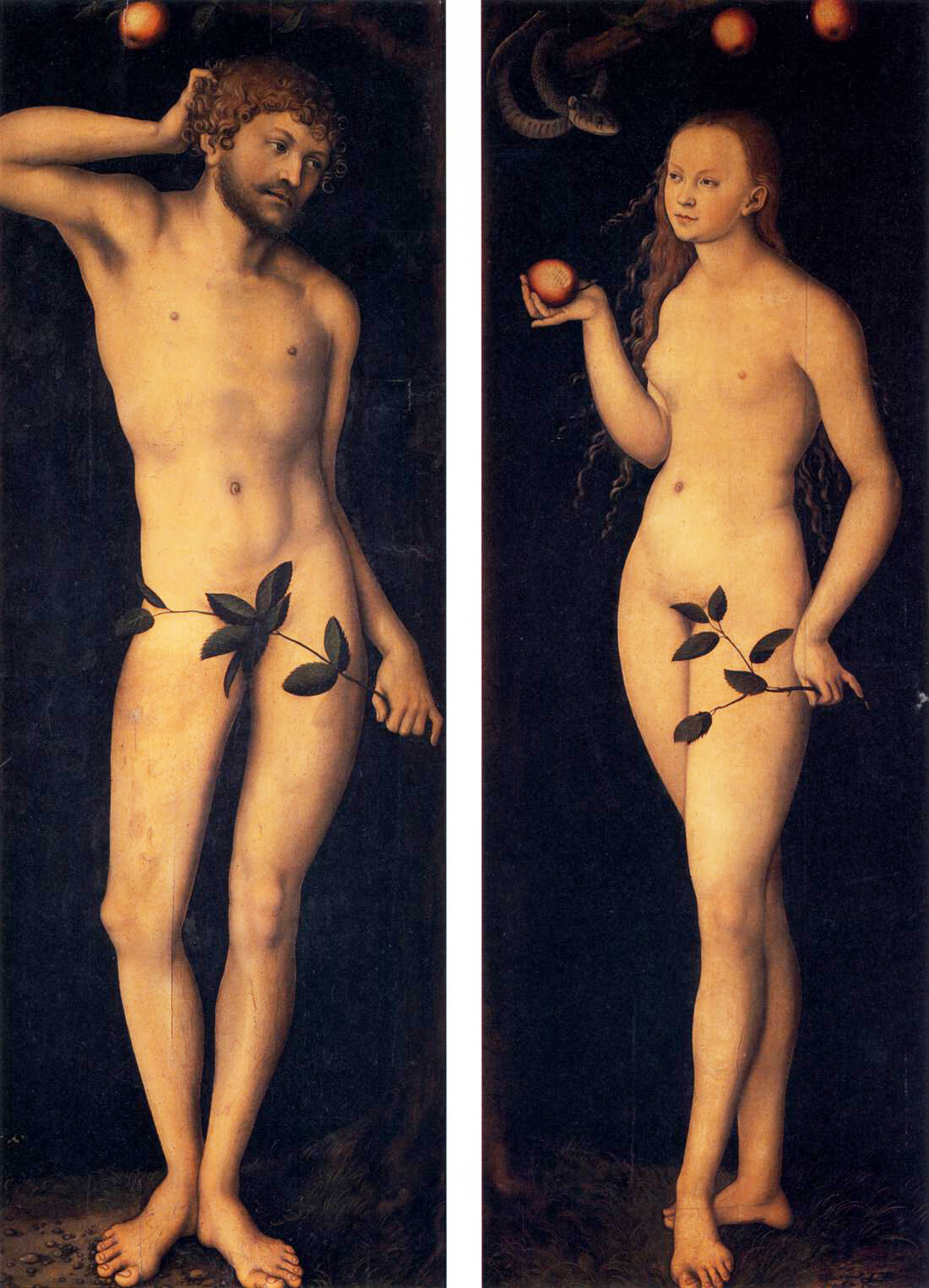 Lucas Cranach the Elder, Adam and Eve, 1528. Courtesy of the Uffizi Gallery.