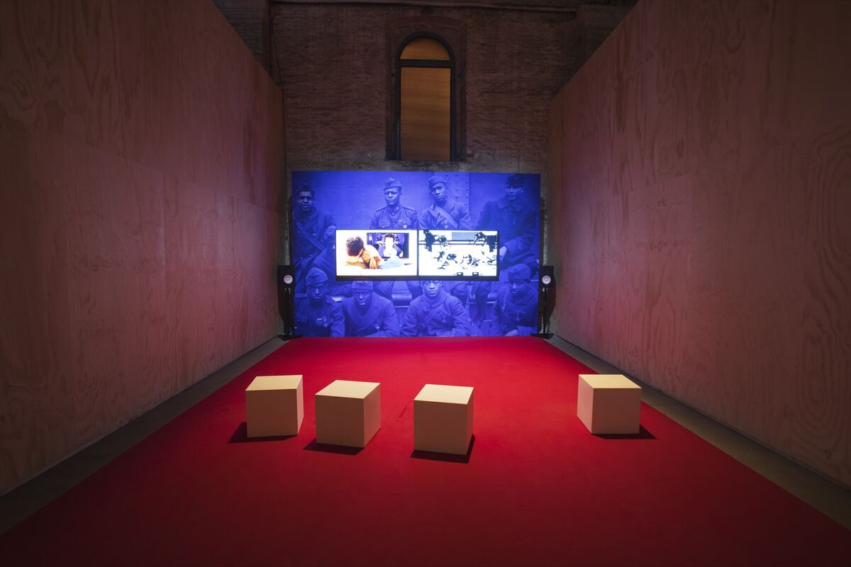 "Installation view of Kahlil Joseph, BLKNWS, 2018, at the 58th International Art Exhibition of La Biennale di Venezia, ""May You Live In Interesting Times,"" 2019. Photo by Andrea Avezzù. Courtesy of La Biennale di Venezia."