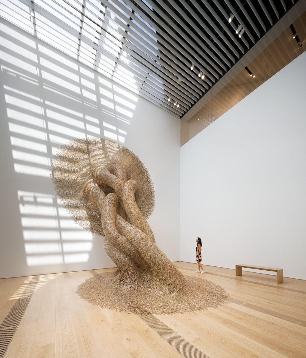 View of Tanabe Chikuunsai IV, bamboo installation, at OMM. Photo by Kengo Kuma and Associates. ©NAARO. Courtesy of the Odunpazari Modern Museum (OMM).