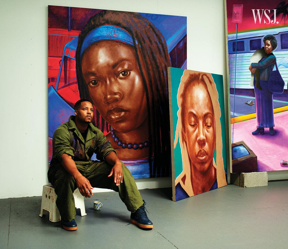 Portrait of Titus Kaphar in his studio. Courtesy Mario Sorrenti for WSJ. Magazine.