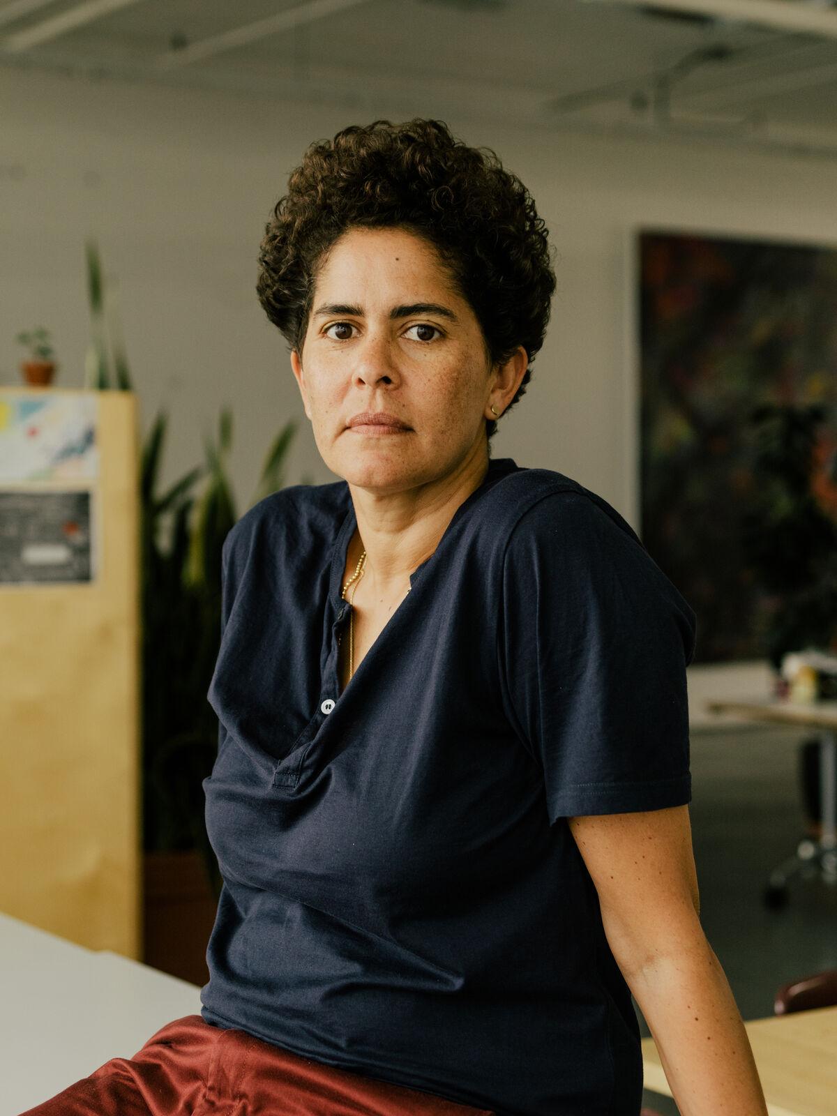 Portrait of Julie Mehretu by Daniel Dorsa for Artsy.