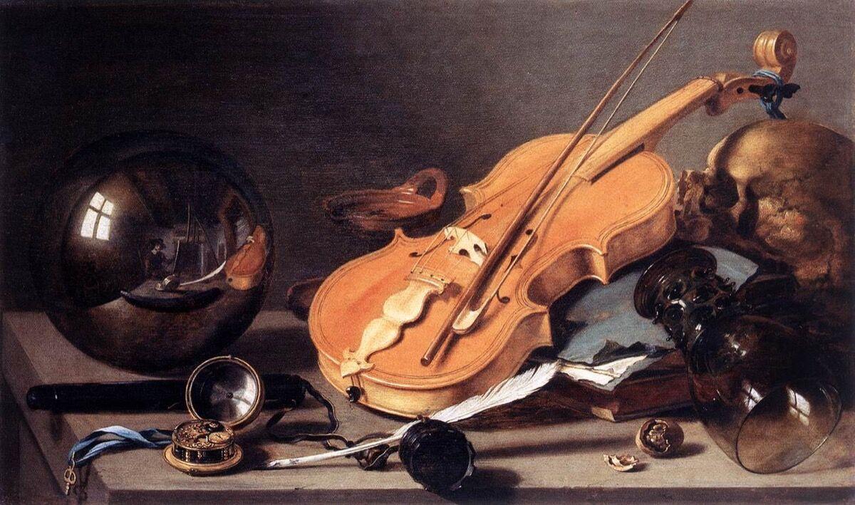 Pieter Claesz, Bodegón con violín y bola de cristal, 1628. Imagen a través de Wikimedia Commons.