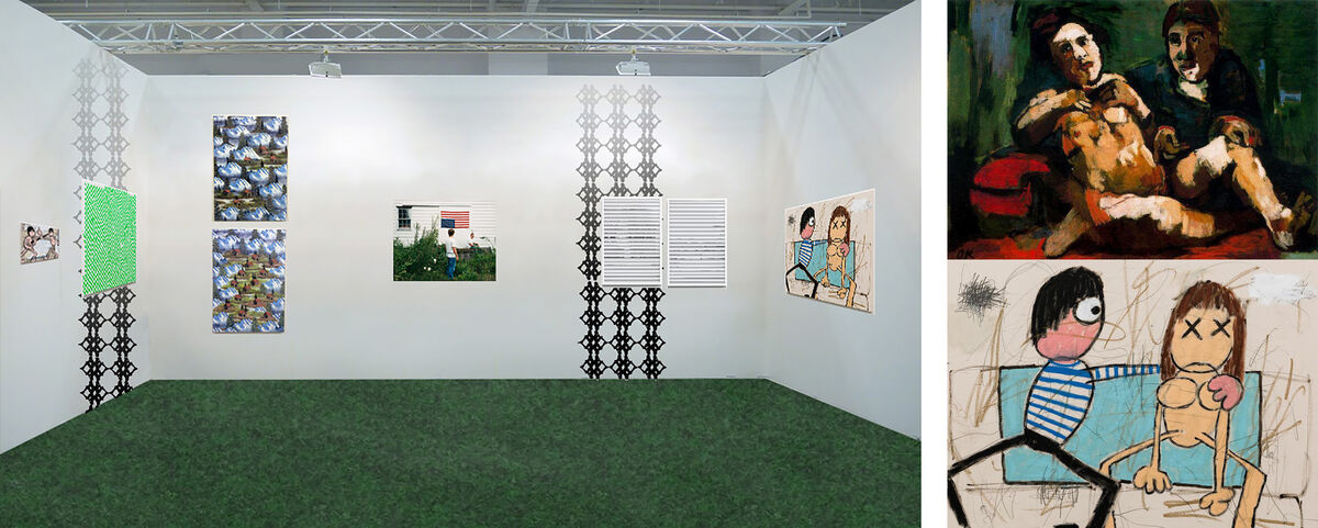 NADA booth Photoshopmock-up. Jay Stuckey's piece and the expressionist painting by Kokoschka it is referencing.