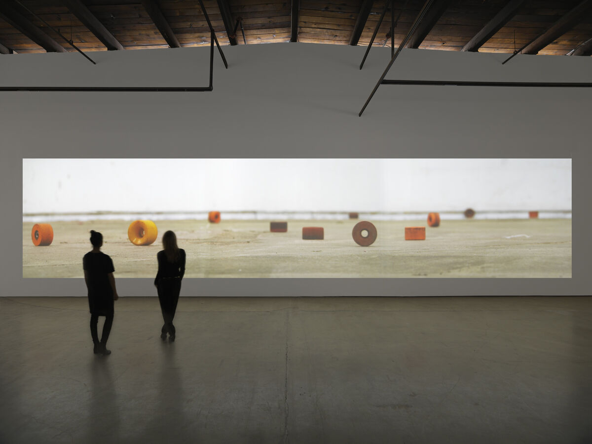"""Installation view of """"Mark Bradford: Be Strong Boquan"""" at Hauser & Wirth New York, 18th Street, 2015. © Mark Bradford. Photo by Genevieve Hanson, courtesy of the artist and Hauser & Wirth."""