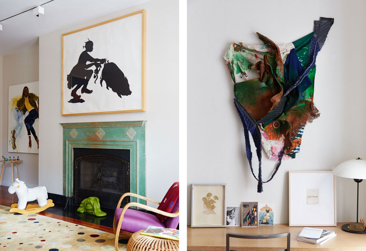 Artwork by Jennifer Packer and Kara Walker, armchair by Alvar Aalto | Artwork by Lorna Simpson and Eric Mack. Photos by Emily Johnston for Artsy.