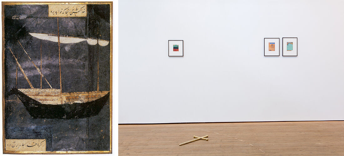 Left:Shahpour Pouyan, After, 'God Sets the Course for the Ship, and Not the Captain' (2013-15). Right: Installation view of Shahpour Pouyan at Copperfield Gallery. Images courtesy of the artist, Copperfield Gallery, and Lawrie Shabibi.