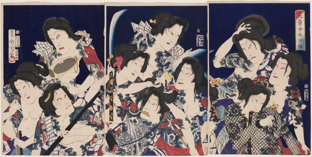 Toyohara Kunichika, A Water Margin of Beautiful and Brave Women: Actors Bando Hikosaburo V, Onoe Kikugoro V, Sawamura Tossho II, Otani Tomoemon V, Sawamura Tanosuke III, Iwai Shijaku II, Nakamura Shikan IV, Kawarazaki Gonnosuke VII, Bando Mitsugoro VI, and Ichikawa Kuzo III, 1869. Photo © Museum of Fine Arts, Boston. Courtesy of the Museum of Fine Arts, Boston, William Sturgis Bigelow Collection.