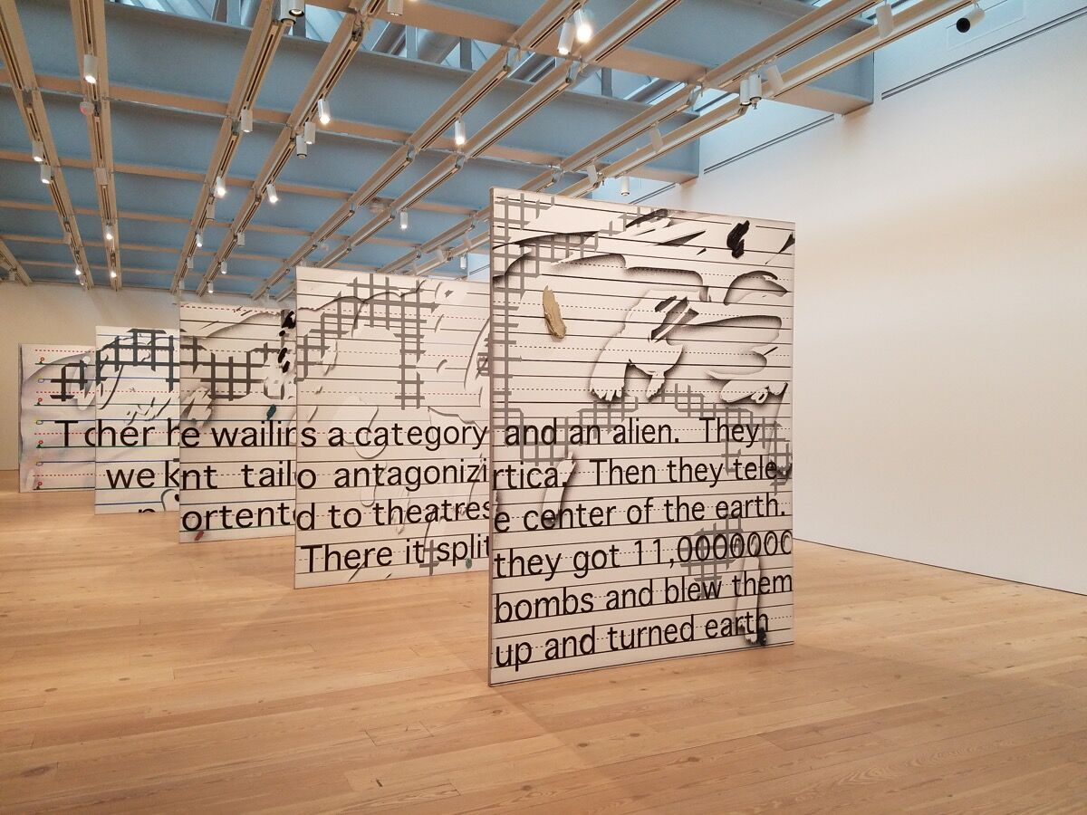 Installation view of Laura Owens, Untitled, 2015, at the Whitney Museum of American Art, 2017.