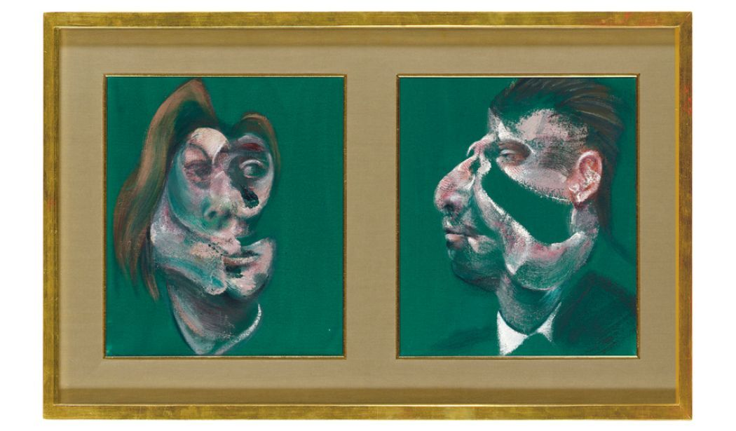 Francis Bacon,Study for Head of Isabel Rawsthorne and George Dyer (1967). Courtsey Christie's.