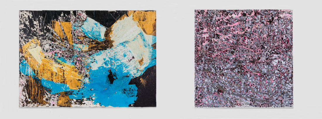 """Left: Mark Bradford, Let's Walk to the Middle of the Ocean, 2015. Right: Mark Bradford,Cigarettes and Bubblegum, 2015. Installation views of """"Mark Bradford: Be Strong Boquan"""" at Hauser & Wirth New York, 18th Street, 2015. © Mark Bradford. Photos by Genevieve Hanson, courtesy of the artist and Hauser & Wirth."""