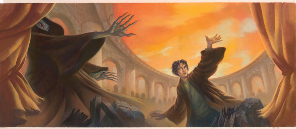 Mary GrandPré, Jacket art for Harry Potter and the Deathly Hallows, 2007. © Warner Bros. Courtesy of New York Historical Society Museum & Library.