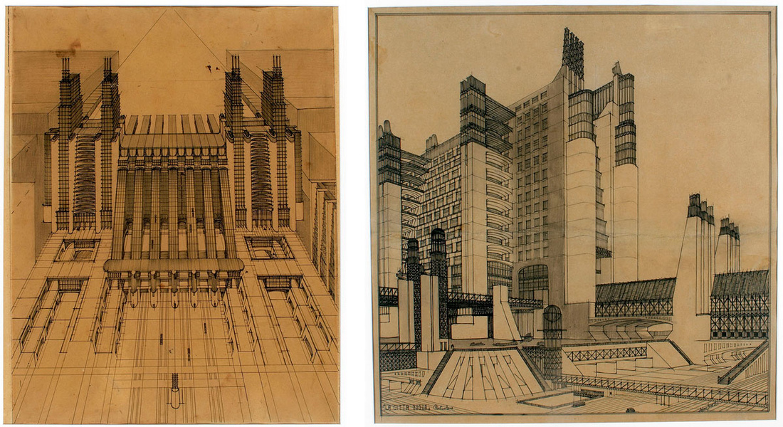 Left: Antonio Sant'Elia, Air and train station with funicular cableways on three road levels fromLa Città Nuova, 1914; Right: Antonio Sant'Elia,Housing with external lifts and connection systems to different street levelsfromLa Città Nuova, 1914. Images via Wikimedia Commons.