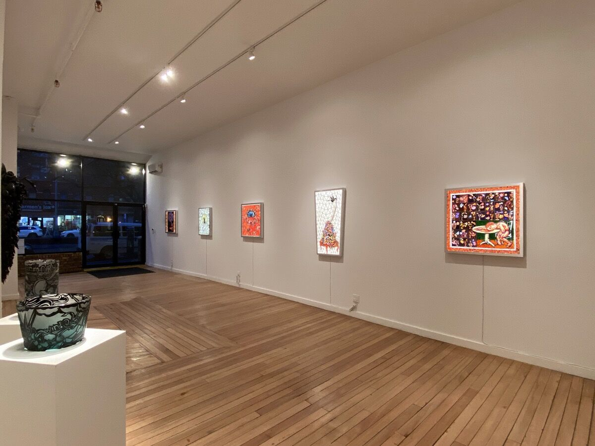 """Installation view of Judith Schaechter, """"Almost Better Angels,"""" at Clair Oliver Gallery, 2020. Courtesy fo Claire Oliver Gallery."""