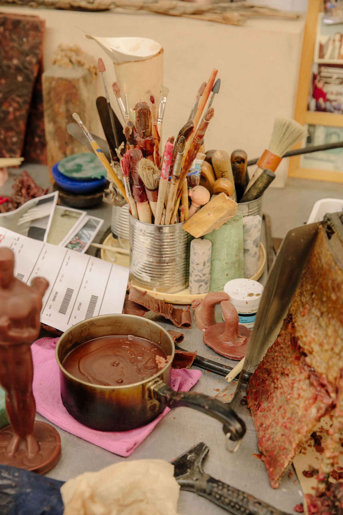 Supplies for wax rework. Photo by Ricky Rhodes for Artsy.