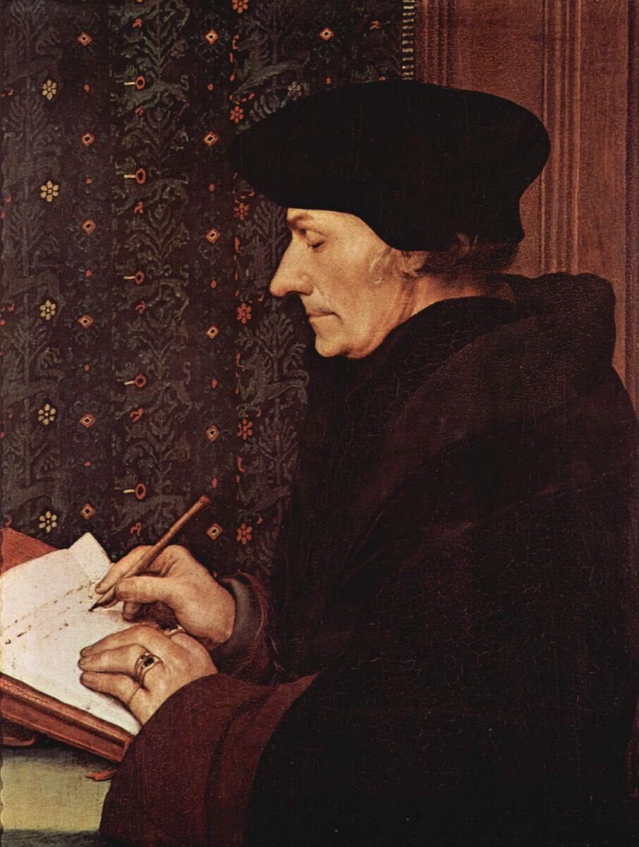 Hans Holbein, Portrait of Erasmus, early 16th century. Image via Wikimedia Commons.