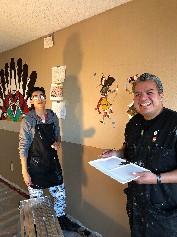Portrait of 2018 Mentor Artist Fellow Jason Garcia (Santa Clara Pueblo Tewa) and his apprentice David Naranjo (Santa Clara Pueblo). Courtesy of Native Arts and Cultures Foundation.