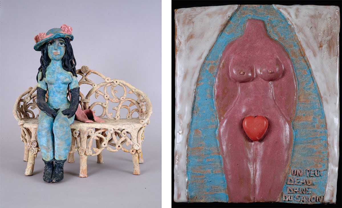 Left: Beatrice Wood, Is My Hat on Straight? (1969). Right: Beatrice Wood, Un peut d'eau dans du savon (ca. 1980). Images courtesy of Francis M. Naumann Fine Art.