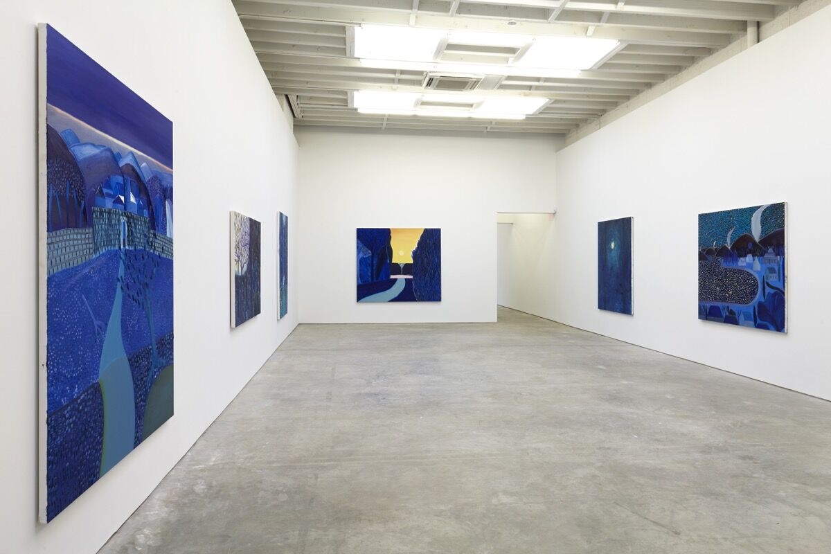 """Installation view of Matthew Wong, """"Blue,"""" at Karma, 2019. Courtesy of the artist's estate and Karma, New York."""
