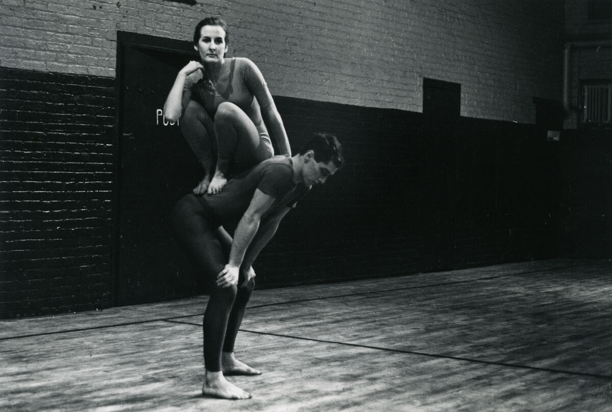 Peter Moore, Performance view of Trisha Brown and Steve Paxton in Brown's Trillium, Concert of Dance #4, January 30, 1963. © Barbara Moore/Licensed by VAGA, New York, NY. Courtesy of Paula Cooper, New York.
