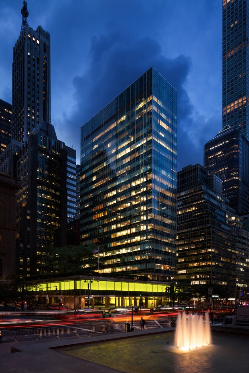 """View of """"Peter Halley: New York, New York,"""" 2018. Photo by Jesse David Harris. Courtesy of the Lever House Art Collection, Greene Naftali, New York, and the artist."""