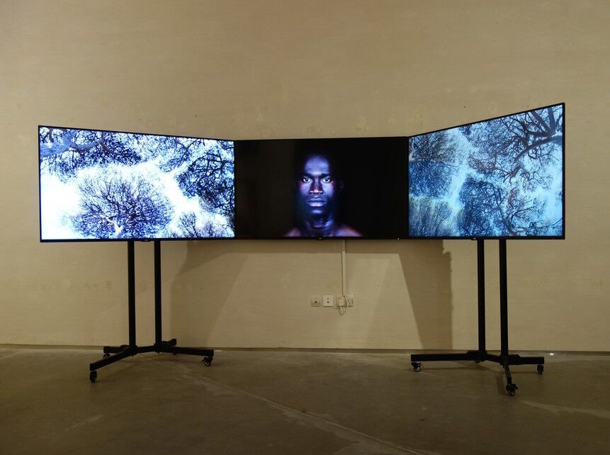 "Installation view of Leila Alaoui's Crossings, on view for ""If I Leave, Where Will I Go"" at East Wing. Courtesy of the gallery."