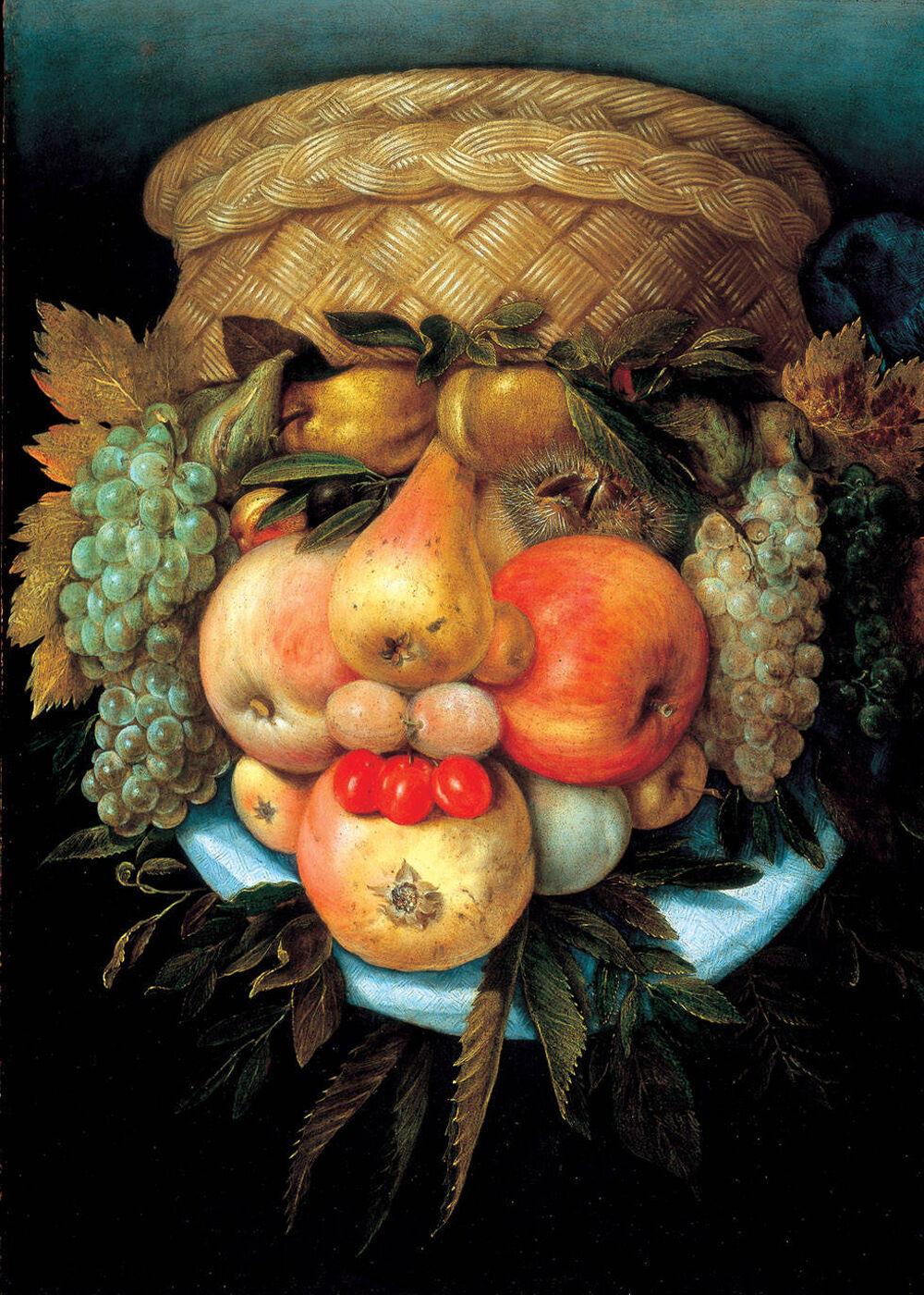 Giuseppe Arcimboldo, Fruit Basket, 16th Century. Image via Wikimedia Commons.