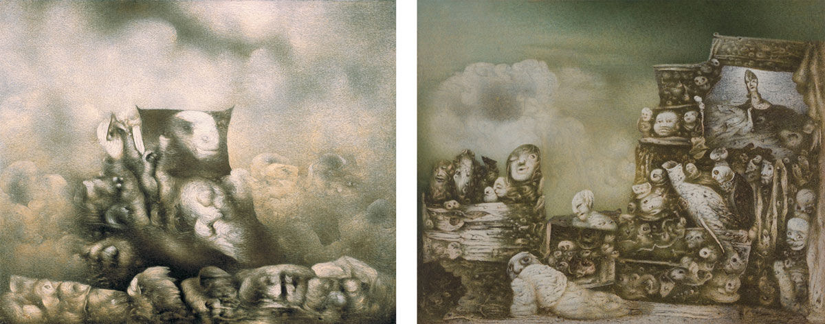 Left: Richard Oelze, Ohne andere Gesellschaft (Devoid of Another Party), 1964. Right: Richard Oelze, Tal Josaphat (Valley of Josaphat), 1969/70. Images courtesy of Michael Werner Gallery, New York.