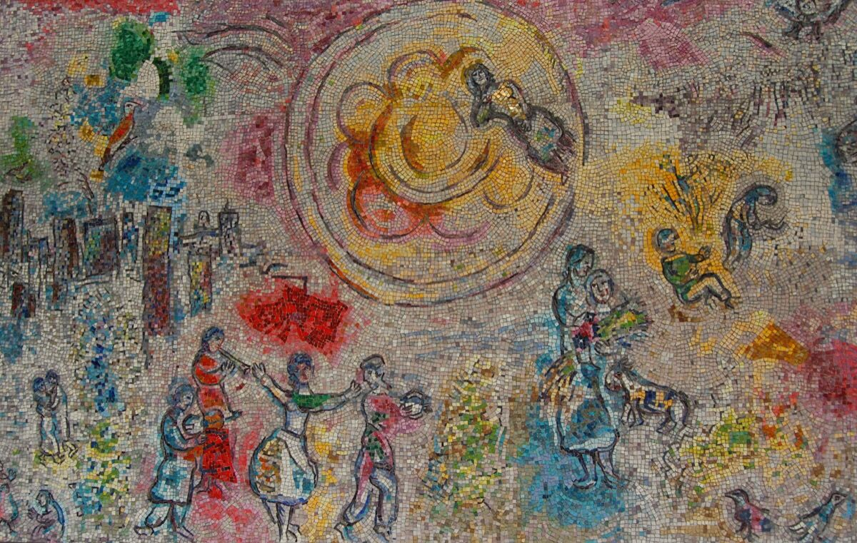 Detail of Marc Chagall, The Four Seasons, at the Exelon Plaza, Chicago, 1974. Photo by UGArdener, via Flickr.